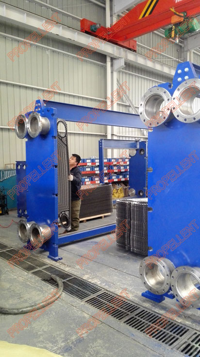 New type of wide gap plate heat exchanger is being assembled